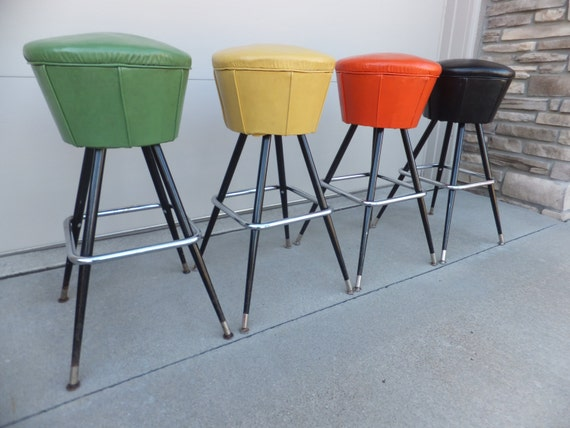 SOLD to SARAJUNE SOLD Vintage Chrome Swivel Bar Stools MetalIce Cream Parlor Stool