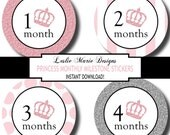 PRINCESS BABY Monthly Milestone Stickers - Do It Yourself - Printable - Princess Crown, Glitter
