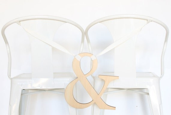 Wedding Chair Sign: natural pine ampersand