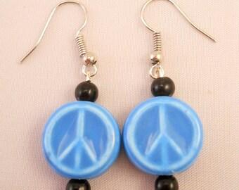 Ceramic Peace Sign Earrings, Blue Peace Signs, Fish Hook Earrings,Festival Jewelry,Handmade,Hippie,Boho,Gypsy,Costume Jewelry, One of a Kind