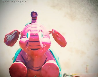 Beach Boardwalk, Carnival, County Fair, Flying Elephant, Pink Elephant, California, Summer, Vintage Style Art, Kristine Cramer Photography
