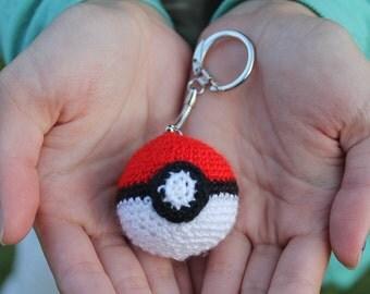Mini Crocheted Pokeball Keychain / Charm