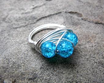 Aqua Blue Ring, Cluster Ring, Aqua Ring, Wire Wrapped Ring, Wire Wrapped Jewelry Handmade, Bead Ring, Chunky Ring