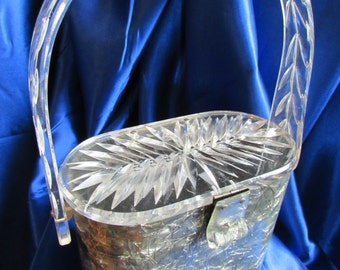 Vintage Grey Marbleized Lucite Purse Splashed with Silver Threads  * Clear Double Carved Lucite Lid! b1