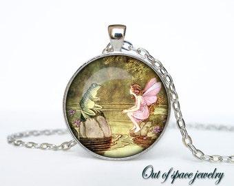 Thumbelina pendant Frog and Fairy Pendant, Art Nouveau Fairy Necklace, Fairy Jewelry, Fairytale Jewelry, Vintage Fairies
