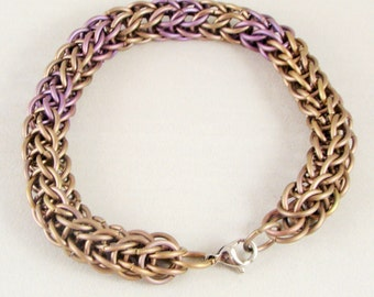 Pink & Violet Titanium Chainmail Anklet