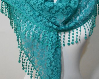 Lace Scarf Shawl Teal Green Wedding Scarf Bridesmaids Gifts Bridal Accessories Women Fashion Accessories Mothers Day Christmas Gifts For Her