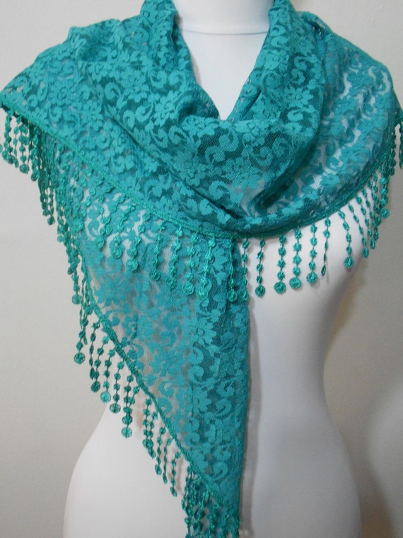 lace scarf shawl teal green wedding scarf bridesmaids gifts