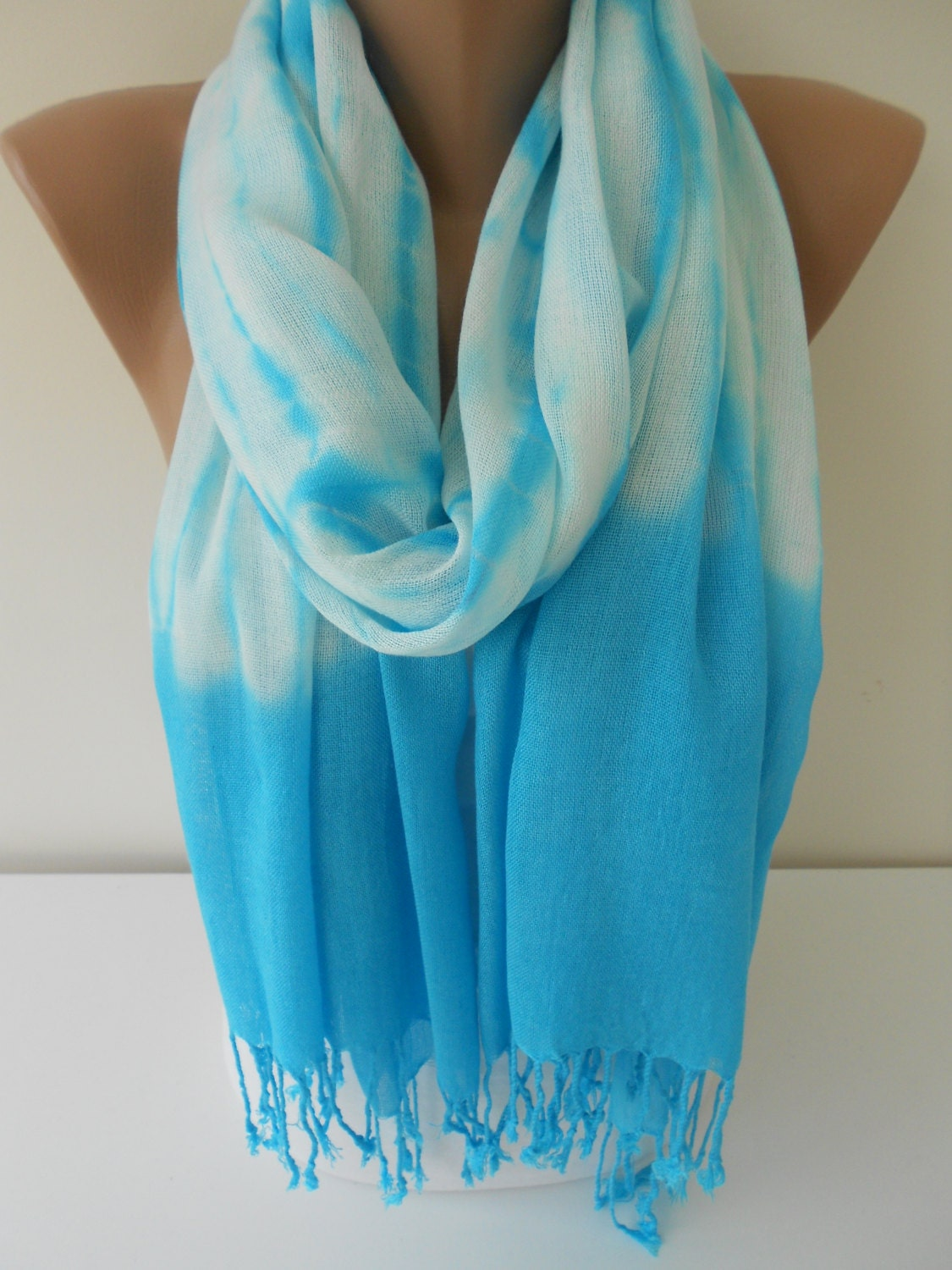 Tie Dye Scarf Turquoise Scarf Shawl Cowl Scarf by MiracleShine