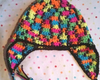 Handmade Crochet Black and Neon Earflap Hat Ready to Ship