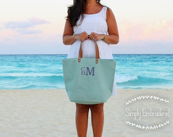 Burlap Jute Monogrammed Zippered Tote | Bridesmaid Gift | Mother's Day | Monogrammed Lined Beach Tote | Gift Under 30
