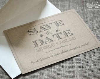 Wedding stationery - x25 save the date wedding invitation cards, vintage rustic wedding design (A6)