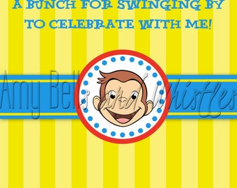 Curious George Thank You Card - 4x6 Digital File Instant Download