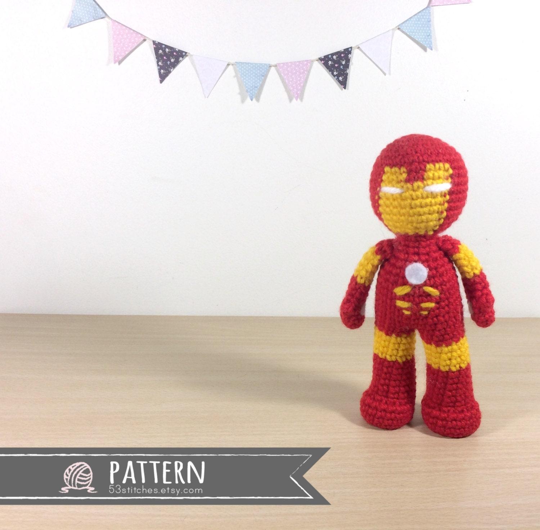 Iron Man Amigurumi Free Pattern : Iron Man Amigurumi Crochet Doll Pattern