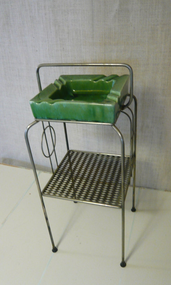 Vintage Smoking Stand Ashtray Metal Stand With Green Drip