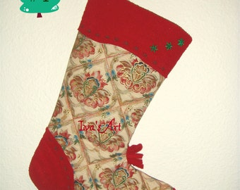 Quilted Christmas Stocking – Unique, Recycled Materials