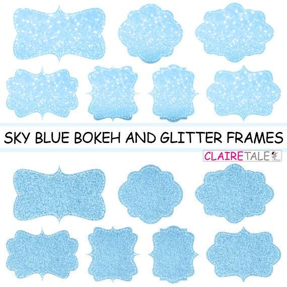 "Digital clipart labels: ""BLUE  BOKEH & GLITTER frames"" bokeh and glitter clipart frames, labels, tags on sky blue background"