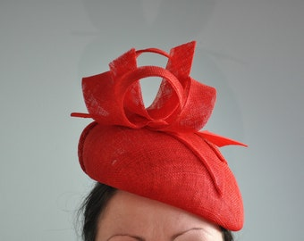 Red Beret Fascinator with Feather Arrow