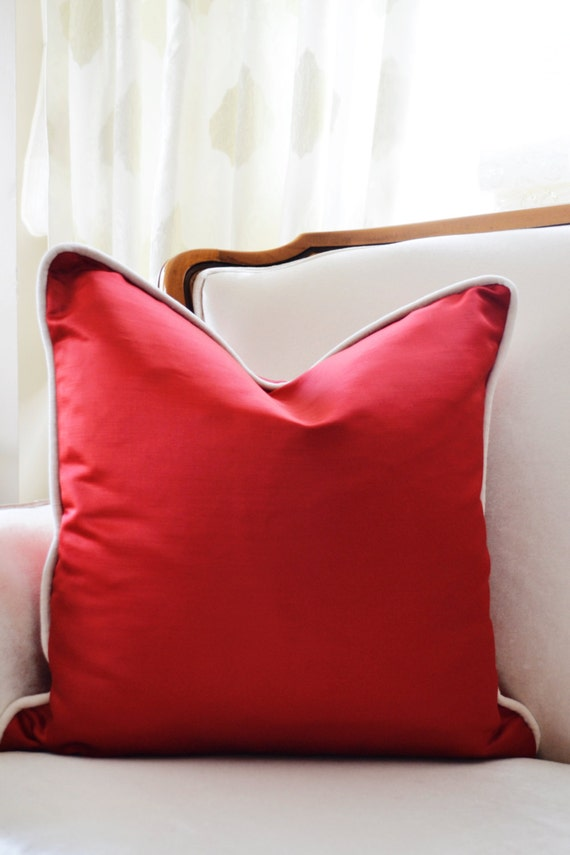How To Make A Decorative Pillow With Piping : Pillow Cover with Piping Modern Pillow Cover Red Pillow