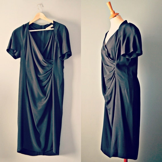 Vintage 80s black silk dress marina rinaldi cocktail dress for Marina rinaldi wedding dresses