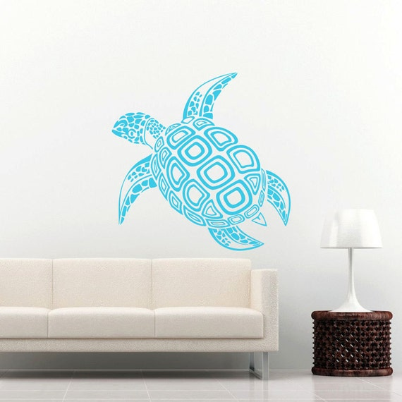 sea turtle wall decal ocean sea animals decals by supervinyldecal. Black Bedroom Furniture Sets. Home Design Ideas