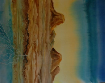 "Original Watercolor, Painting,""Rain Paths""Abstract Watercolor, Mesa Rock, Painting Desert Painting, Blues Greens, Warm Tones, Large Painting"
