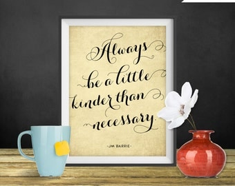 JM Barrie Quote Print - Always be a little kinder, Printable art wall decor, Inspirational quotes poster - Instant Download