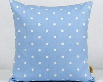 16x16, Pillow, Decorative Throw Cover, Blue, Polka Dots, Spots,Throw pillow cover, Pillow Case, Handmade, Blue, white, 16 inch, pillow sham
