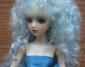 Tiny doll wig, pale blue kid mohair, size 3-4, 1/8, 1/12, BJD, Pukipuki, RealPuki, elf, fairy