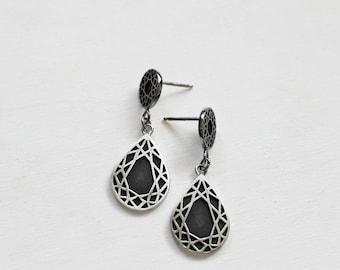 Sterling Silver Geometric Black Diamond Earrings