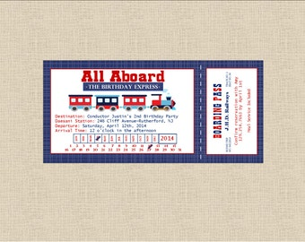DIY Printable Train Ticket Birthday Invitation Navy/Red/White