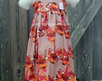 Retro Orange Maxi Dress - READY TO SHIP - Size 5