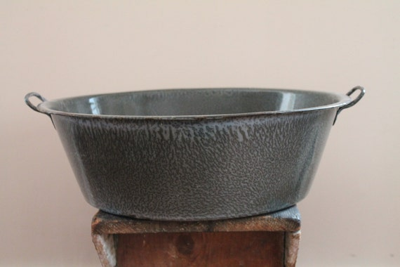 Large Wash Tub : Large Graniteware Gray Swirl Wash Tub - Basin - Antique / Vintage ...