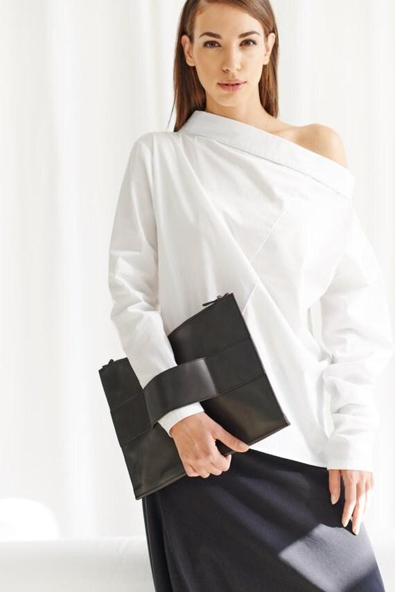 White Shirt / White Oversized Off Shoulder Shirt / Long