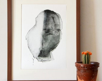 Modern Black and White Print, Abstract Drawing Portrait , Monochrome Giclee Fine Art Print