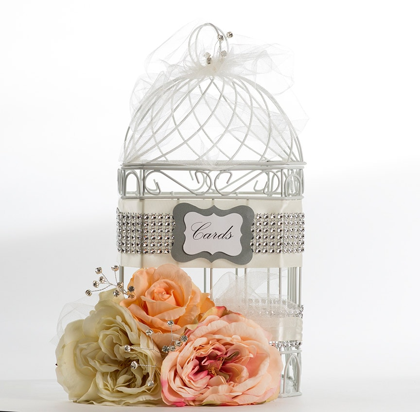 Birdcage Wedding Card Holder: Floral Birdcage Wedding Card Holder By SassyandSweetBoutiq