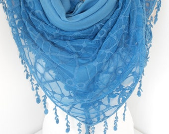 NEW Soft Cotton Scarf Shawl Blue Scarf Cowl Scarf with Lace Edge Oversize Scarf Women Fashion Accessories Holiday Christmas Gifts For Her