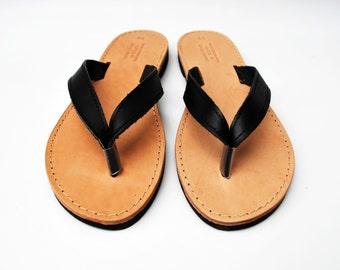 Black Flip Flops, Leather Sandals