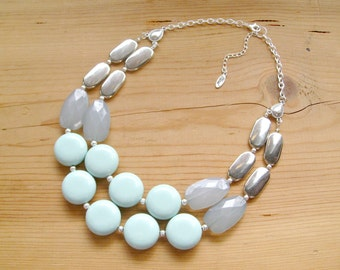 Mint and silver Statement necklace, chunky mint silver necklace