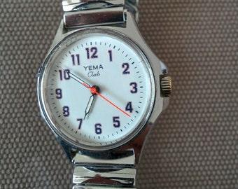 Vintage mechanical watch - brand YEMA CLUB chrome - 70s