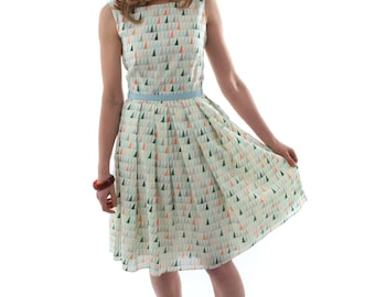 SALE - Organic Cotton Voile Day Dress - green / blue print summer pleated dress