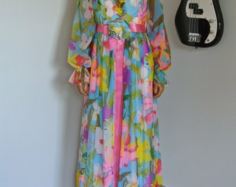 1950s Garden Party Spring Chiffon Maxi Gown Dress Old Hollywood Gala by Jr. Theme New York /M