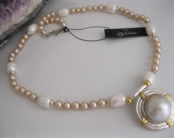 19mm White Mabe Pearl Pendant and Champagne Pearl Necklace in Sterling Silver
