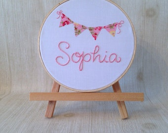 personalized gifts . hand embroidered hoop art . custom name embroidery . nursery decor . baby shower gift . wall decor . flag . bunting