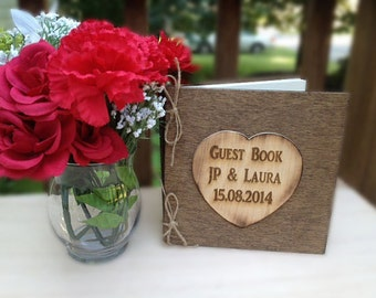 Rustic Wedding Guest Book - Wedding Book - Bridal Shower Book - Rustic Book - Cottage Chic Guest Book with Laser Engraved Heart