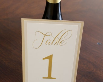 Triple layer table numbers, wedding table numbers, gold table numbers, champagne table numbers, layered table numbers