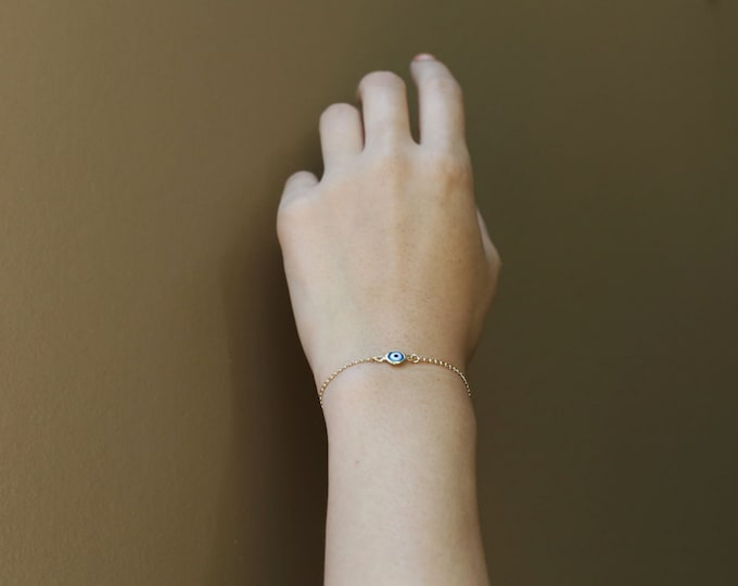evil eye bracelet 14K gold filled   EB022