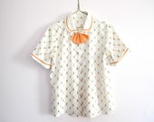 Vintage Women's Secretary Blouse With Bow, Novelty Print