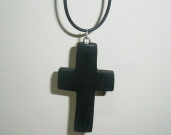 Irish Bog Oak Wooden Cross Necklace made from 3000 Year Old Wood - crucifix holy