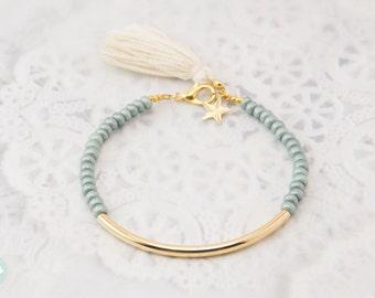 Gold tube bracelet, Beaded Bracelet, beaded bangle, tassel bracelet, Friendship bracelet, seed beads bracelet, seed beads bangle